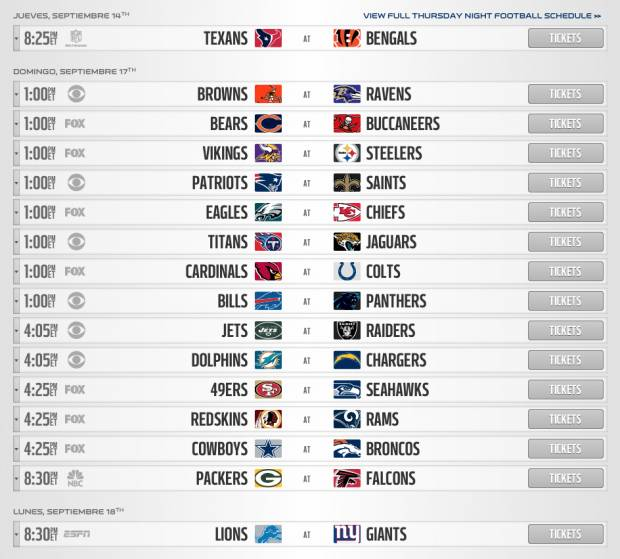 Nfl Da A Conocer Calendario De Juegos De Temporada Regular