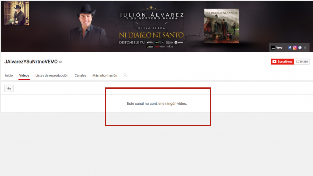 YouTube desaparece videos de Julión Álvarez