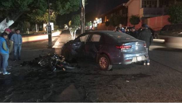 Accidente entre motociclista y automovilista