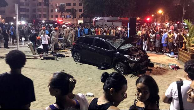 Videos: atropelló a 15 personas en la playa de Copacabana